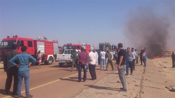 وفاة سائق فى حريق التهم سيارة نقل أعلى الدائرى بالجيزة