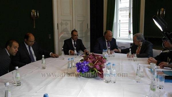 : تفاصيل لقاء وزير الخارجية وسكرتير عام الأمم المتحدة في ميونخ