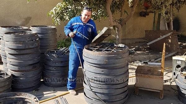: بالصور.. صرف صحي القاهرة: تصنيع أغطية البالوعات من الأسمنت لمواجهة السرقات