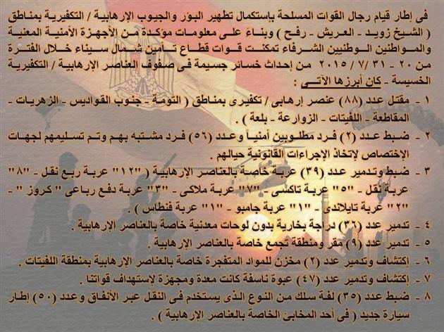 المتحدث العسكري يعلن تصفية 88 تكفيريًا وإرهابيًا بسيناء