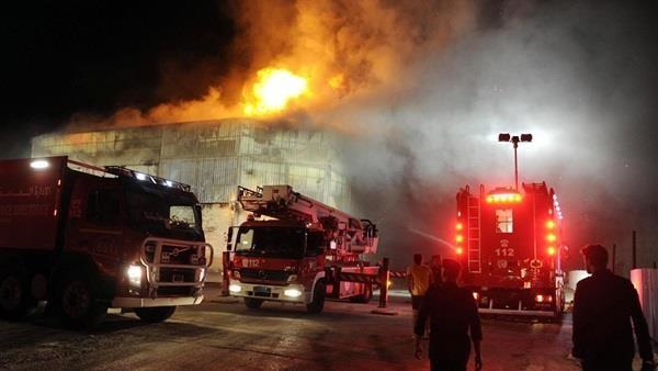 حريق سوق توشكي بحلوان