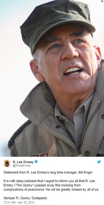 وفاة الممثل الأمريكي آر لي إيرمي عن عمر ناهز 74 عامًا