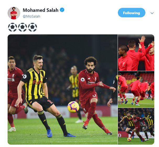 محمد صلاح يحتفل بثلاثية ليفربول في واتفورد