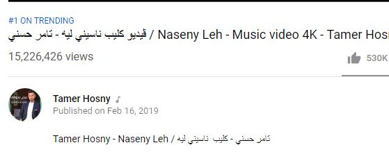 """""""ناسيني ليه"""" لـ""""تامر حسني"""" يتخطى حاجز الـ15 مليون مشاهدة"""