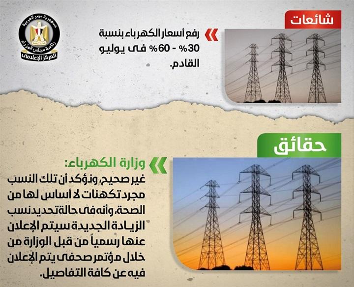 تعرف على حقيقة رفع أسعار الكهرباء في شهر يوليو