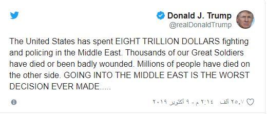 ترامب: التدخل في الشرق الأوسط أسوأ قرار في التاريخ الأمريكي