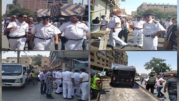 : بالصور.. حملة لإزالة الباعة الجائلين والتكاتك في حلوان