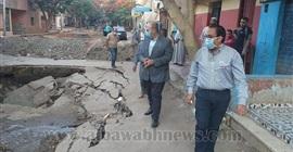 نائب محافظ الجيزة يتابع أعمال إصلاح الهبوط الأرضي بالحوامدية